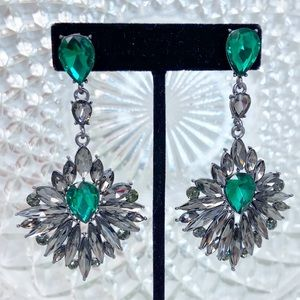Prom Pageant Bridal Jewelry - Grey Green Crystal Chandelier Pageant Prom Earring